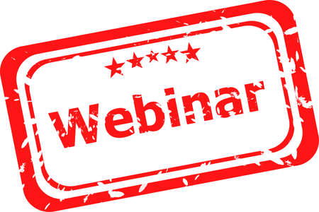 webinar on red rubber stamp over a white background photo