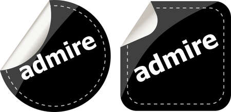 bewonderen: bewonder woord stickers set, pictogram knop, business concept