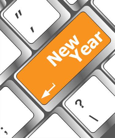 happy new year message, keyboard enter key Stock Photo - 24276921