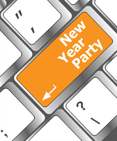 Computer keyboard key with new year party words Stock Photo - 24281982