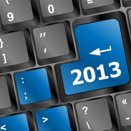 thirteen: 2013 Key On Keyboard. New year Stock Photo