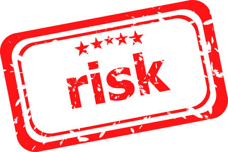 be careful: risk red rubber stamp over a white background