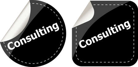 consulting word on black stickers button set, label, business concept photo