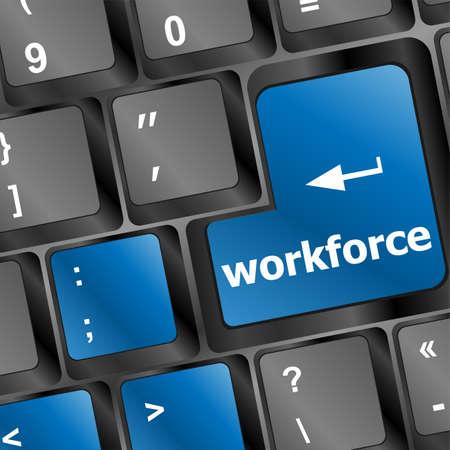 freelancing: Workforce key on keyboard - business concept