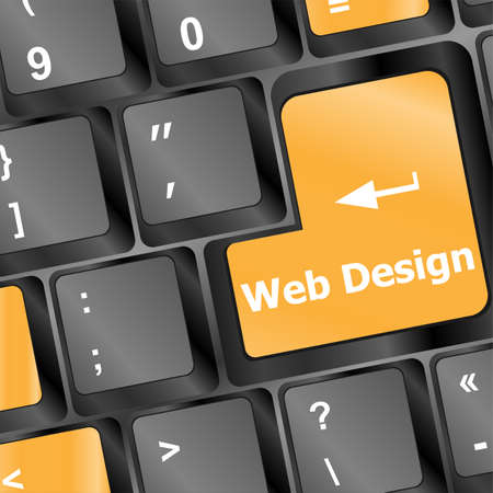 Web design concept: computer keyboard with word Website on enter button, 3d render photo