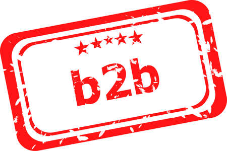 b2b: b2b on red rubber stamp over a white