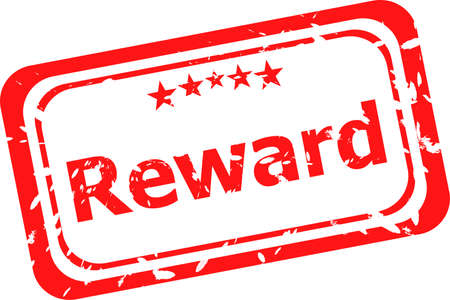 reward red rubber stamp over a white  photo