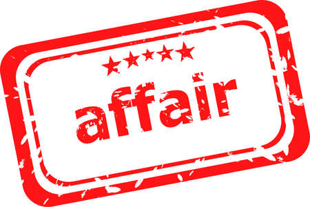 affair: red rubber stamp with affair word