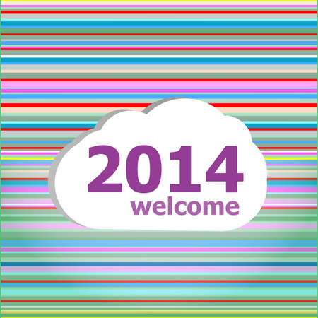 Seamless abstract pattern background with welcome 2014 words photo