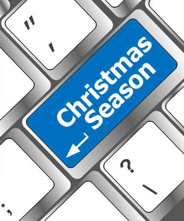 Computer keyboard key with christmas season words Stock Photo - 24343451