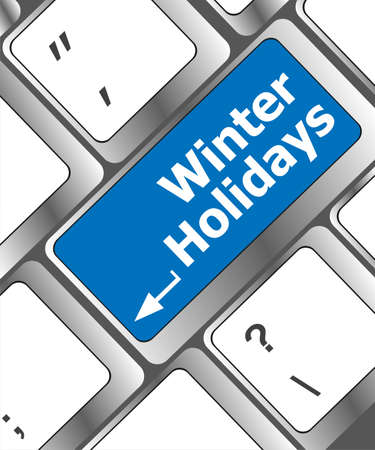Computer keyboard key with winter holidays words photo