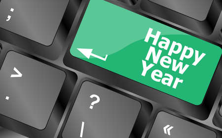 happy new year message, keyboard enter key button Stock Photo - 24343461
