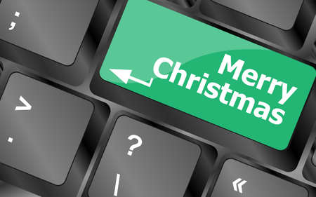 merry christmas message, keyboard enter key button Stock Photo - 24343462