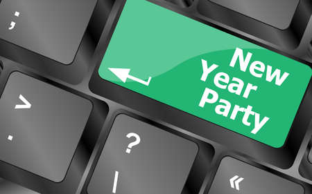 Computer keyboard key with new year party words Stock Photo - 24343466