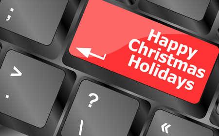 happy christmas holidays button on computer keyboard key photo