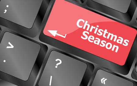 Computer keyboard key with christmas season words Stock Photo - 24343499