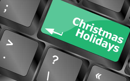 Computer keyboard key with christmas holidays words Stock Photo - 24343500