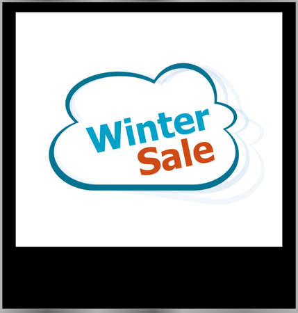 winter sale word on cloud, isolated photo frame photo