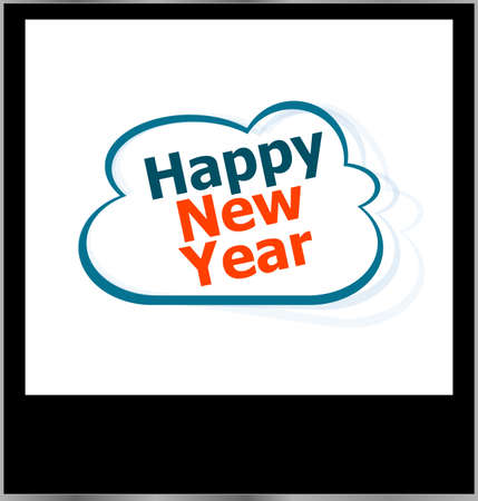 happy new year word on cloud, isolated photo frame photo