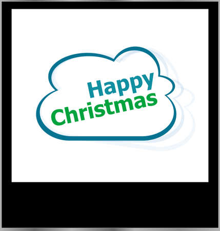 happy christmas word on cloud, isolated photo frame photo