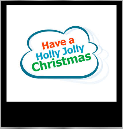holly jolly christmas holidays word on cloud, isolated photo frame photo
