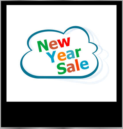 new year sale word cloud on photo frame, isolated photo