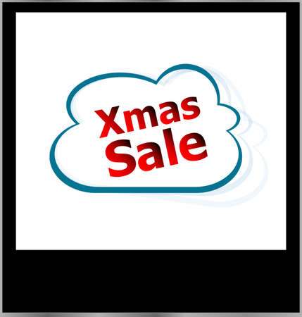 xmas sale word cloud on photo frame, isolated photo