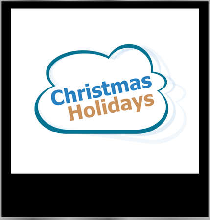 christmas holidays word cloud on photo frame, isolated photo