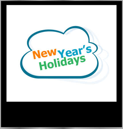 new year holidays word cloud on photo frame, isolated photo