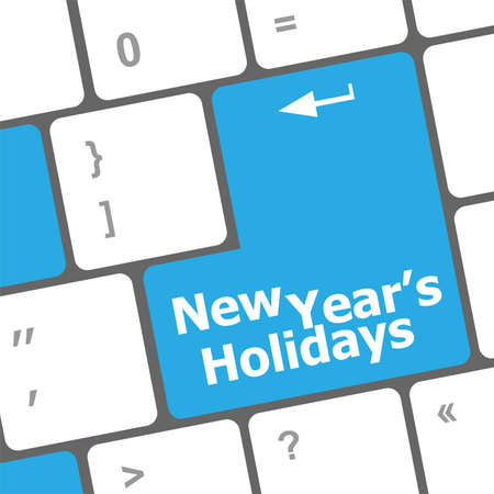 Computer keyboard key with new year holidays words photo