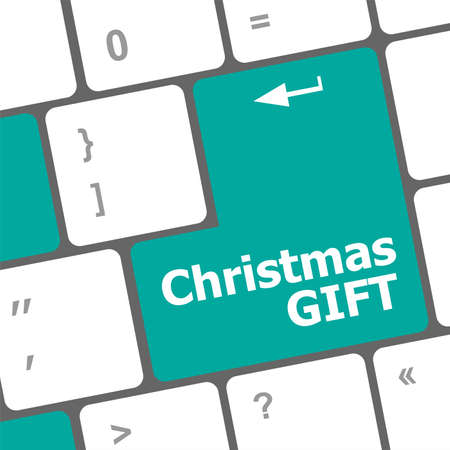 Computer keyboard key with christmas gift words Stock Photo - 24342358