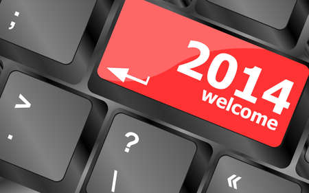 New year concept: welcome 2014 key on the computer keyboard Stock Photo - 24341389