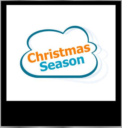 christmas season word cloud on photo frame, isolated photo