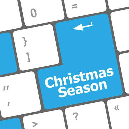 Computer keyboard key with christmas season words Stock Photo - 24341395