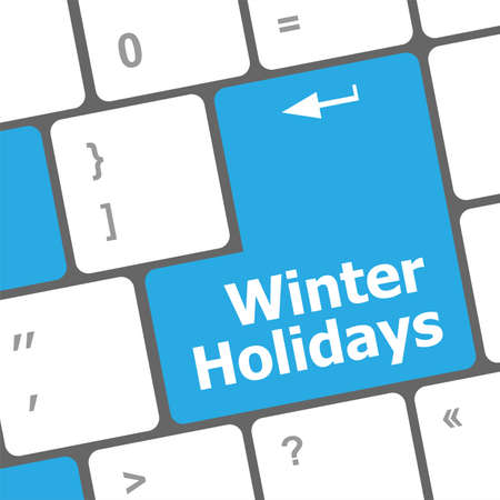 Computer keyboard key with winter holidays words Stock Photo - 24341396