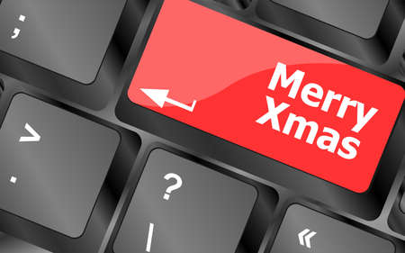 merry christmas message, keyboard enter key button xmas Stock Photo - 24341407