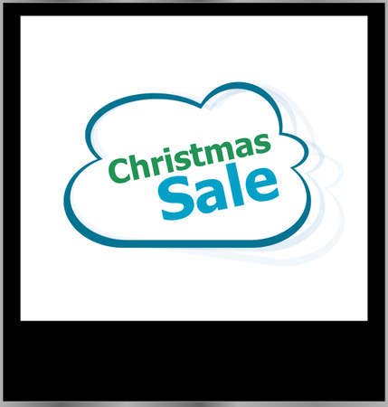 christmas sale word cloud on photo frame, isolated photo
