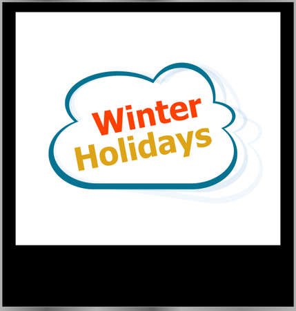 winter holidays word cloud on photo frame, isolated photo