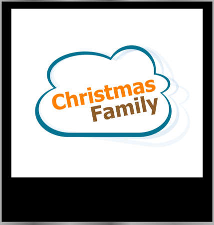 christmas family word cloud on photo frame, isolated photo