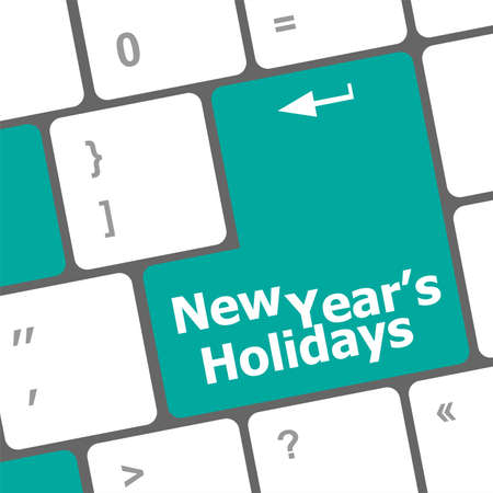 Computer keyboard key with new year holidays words Stock Photo - 24341425