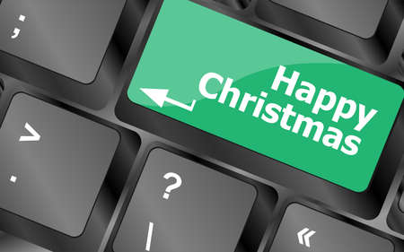 happy christmas message, keyboard enter key button Stock Photo - 24341474