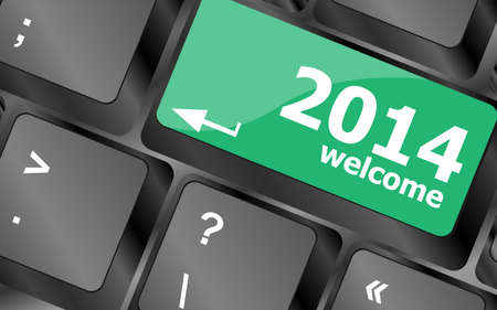 New year concept: welcome 2014 key on the computer keyboard Stock Photo - 24341476