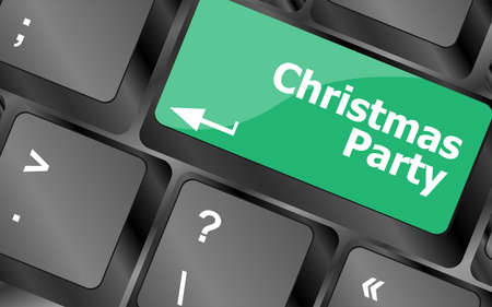 Computer keyboard key with christmas party words photo
