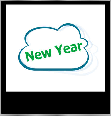new year word on cloud, isolated photo frame photo