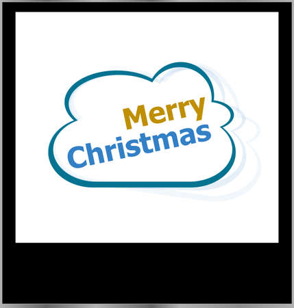 merry christmas word on cloud, isolated photo frame photo