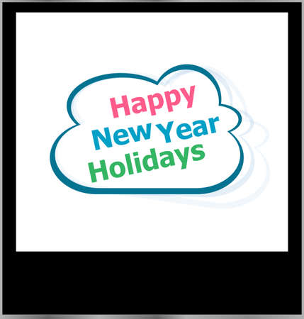 happy new year holidays word cloud on photo frame, isolated photo