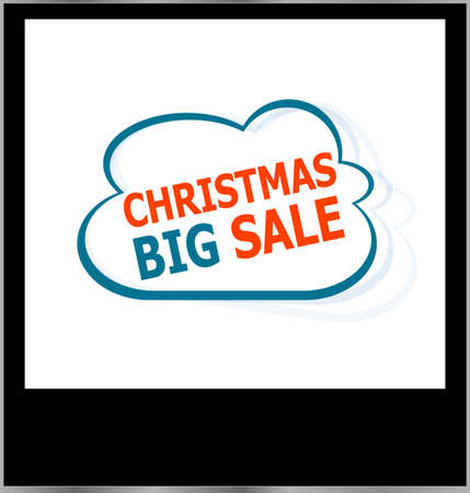 christmas big sale word cloud on photo frame, isolated photo