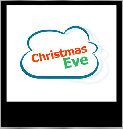 christmas eve word cloud on photo frame, isolated photo
