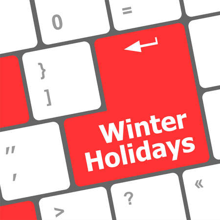 Computer keyboard key with winter holidays words Stock Photo - 24341517