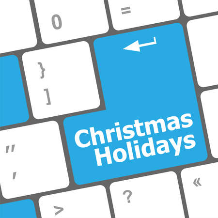 Computer keyboard key with christmas holidays words Stock Photo - 24341518